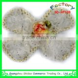 High quality new design handmade white chiffon fabric flower decoration for children garment decoration