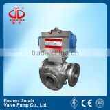 6 inch pneumatic control flange end stainless steel 3 way ball valve