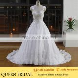Real Sample Cap Sleeve Appliqued Lace Beaded Crystal Ball Gown Wedding Dresses