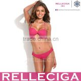 RELLECIGA Solid Hot Pink Twist Bandeau Swimwear Bikini with Removable Straps