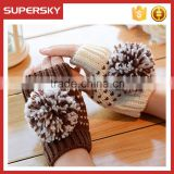 V-412 Fashion women cable knit fingerless mitten gloves with large pom short knit arm warmer crochet wrist warmer