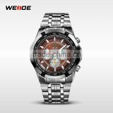 Hot 2014 WEIDE top 50 Luxury Brand Fashion Men's quartz anolog watch distributor Mens steel band wrist watch glass