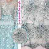 well-know China supplier handwork embroidery designs tulle fabric /beaded lace fabric net embroidered for paty dress                                                                         Quality Choice