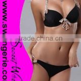 Halter Leopard Straps and Bows Bikini with Leopard Hollow-out Panty Sexy Morden Fashion Bikini Swimwear NA100-black