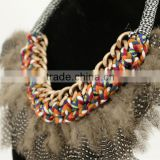 Nylon rope with coloful braided fabric and grizzly feather bib necklace