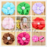 "Wholesale Princess 2.5"" Mini Chevron Chiffon Fabric Flower- Decorative Hair Clips Flower with Rhinestone and Pearl Center"