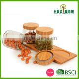 Mutifunctional glass food canister,glass food jar with airtight bamboo lid &base