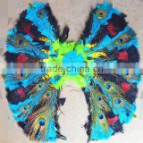 Hot sale exquisite blue,black and green feather angel wings with peacock feather