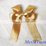 Pre-tied ribbon bows polyester satin ribbon bow with wire twist boutique bows cheer bows