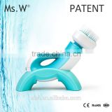 Ms.W Face Cleaning Brush Vibrating Scrubber Facial Massager-Pore Cleasing System-Whitening Acne Treatment