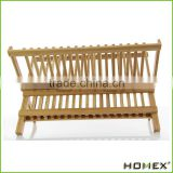 Home Bamboo Folding Dish Rack | 2-Tier Collapsible Dish Drying Rack | Wooden Dish Drainer | Drying Utensils & Dishes