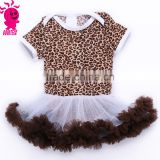 Wholesale 2015 arrival soft baby leopard cotton romper puffy pettiskirt