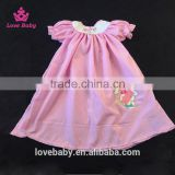 Girl Pink Easter Swing Top With Rabbit Embroidery, Cute Girl Summer Dresses Top LBYTZ001-11