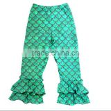 2016 Fashion green fish scale mermaid tail baby girls capri legging mermaid capri pants ruffle for kids
