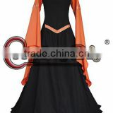 Custom Made Women's Orange Black Medieval Victorian Long Trumpet Sleeve Bandage Dress