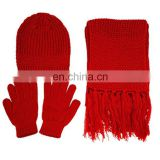 Custom Winter hat Knitted gloves 100%arcylic scarf set with embroidery