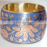 Metal Flower Bangle Blue & Pink Flower 13413, Stainless Steel Women Bangle With Beautiful Design