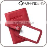 Deluxe pebbled leather passport holder & luggage tag set custom fashion travel accessories leather cover for passport