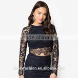 OEM service women lace t shirt with wholesale price China supply black t shirtTS024