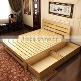 Solid wooden double bed with box,teak wood modern bed designs                                                                         Quality Choice