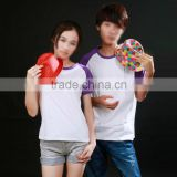 Whosale custom Sublimation 100% polyster Raglan T-shirt lover match, parent-children match and family dress