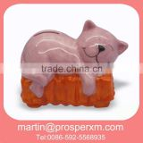 Ceramic money box of animal cat design