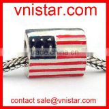 Vnistar square shape enamel large hole flag beads wholesale fit european snake chain bracelet TB078