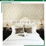 the most popular golden edge non woven wallpaper, mocha antique damask wall sticker for apartment , pretty wall mural supplier