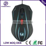 Private design 7 color glowing usb wired brand OEM gaming mouse