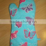 65%/35%polycotton glove kitchen gloves,oven gloves ,cotton printed glove blue butterfly design-4
