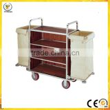 in guangzhou stainless steel&wood Multi-functiion Cleaning Service Trolley, Hotel Room Housekeeping Maid Carty cleaning trolley