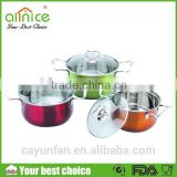 Popular for Africa Colorful stainless steel first horse cookware set 6pcs casserole cooking pot set different colors painting