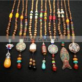 National vintage style wooden beads necklace, Buddha necklace