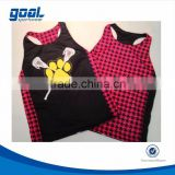 Sublimated custom polyester reversible racerback sports girls lacrosse pinnies tops