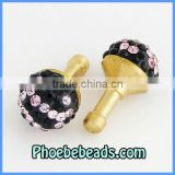 Wholesale Black Pink Anti Dust Earphone Headset Jack Cap Rhinestone Dust Plug Pave Crystal Ball For Cell Phone Iphone MDP-C1006
