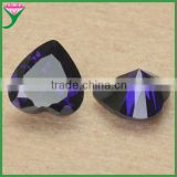 Good quality polishing machine cut heart shape dark amethyst carving zircon stones