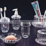 Clear Acrylic AS PS Plastic Bathroom Accessory Set
