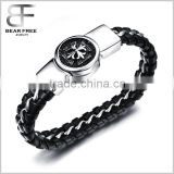 Men's Stainless Steel and Leather Fleur-de-lis Cross Large and Heavy Biker Bracelet