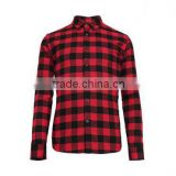 Wholesale custom red and black casual plaid pattern latest new model man flannel shirt