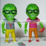 custom made 6 inch resin sculpture,my own design green head sculpture,resin sculpture factory