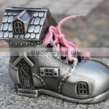 zinc alloy shoe shape money bank,metal house shape piggy bank