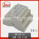 12V/15V/24V/48V 30W Din-Rail Switching Power Supply With CE ROHS 2 Years Warranty DR-30-12