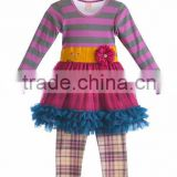 2015 wholesale stripe warm top tutu red dress christmas boutqiue girl flower fall outfits