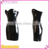 Black Women Wrap Skirt Long Dress PVC Leather