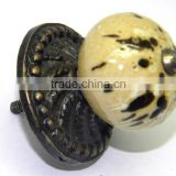 Ceramic Drawer Pull Knobs with Cast Metal Designer Metal Fittings