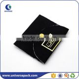 Luxury button closure black suede pouch bags with stamping logo                                                                                                         Supplier's Choice