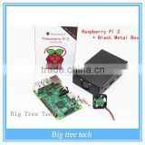 New&Original Raspberry Pi 2 Model B Broadcom+Black Metal Box BCM2836 1G RAM 6 Times Faster Than The Raspberry PI Model B+Speed