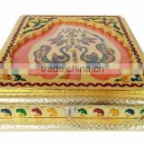 Square/ Rectangular Inner Cutting Leaf designed decorative handmade Wooden Meenakari Dry-fruit tray