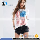 New Design China made 95% cotton 5% spandex white o neck american flag printed Short Sleeve printed women t shirt