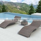 Double PE rattan chaise outdoor lounge